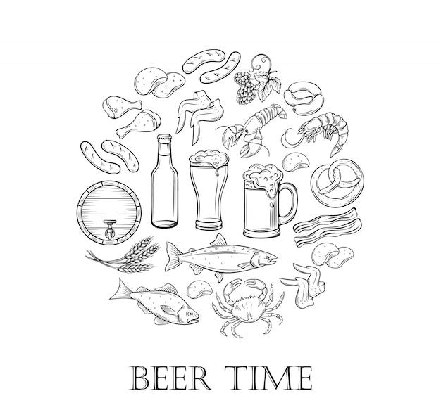 Birra e snack disegnati a mano