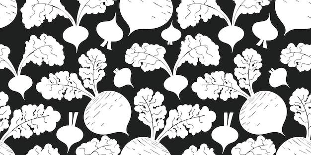 Modello senza cuciture di barbabietola disegnata a mano. illustrazione di verdure fresche del fumetto biologico.