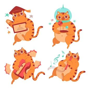Set di adesivi per l'educazione del gatto bernie disegnati a mano
