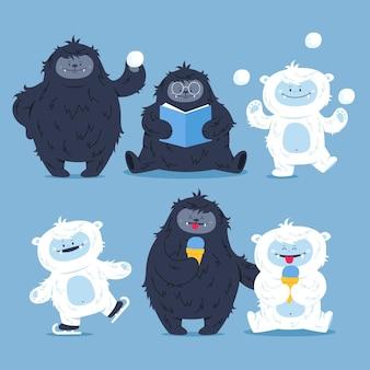 Collezione di personaggi abominevoli pupazzo di neve di bigfoot disegnati a mano sasquatch e yeti