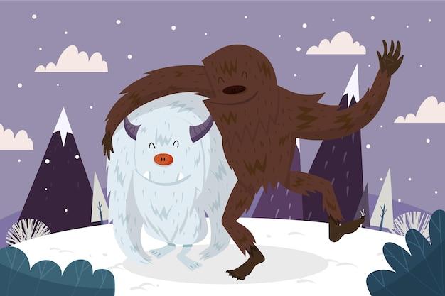 Disegnato a mano bigfoot sasquatch e yeti abominevole pupazzo di neve illustrazione