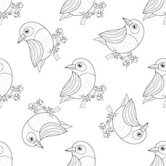 Uccelli disegnati a mano nel modello senza cuciture dei rami nell'illustrazione in bianco e nero
