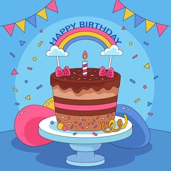 Torta di compleanno disegnata a mano con topper