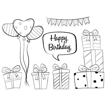 Collezioni disegnate a mano degli elementi di compleanno con il pallone e contenitore di regalo su bianco