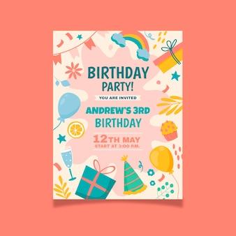Modello di invito di compleanno disegnato a mano