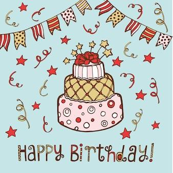 Reticolo senza giunte di compleanno disegnato a mano. torta di compleanno, cupcake, cappello di compleanno, zucchero filato, mela candita,