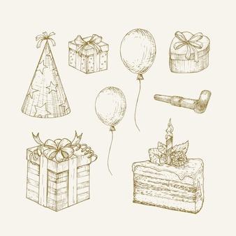 Raccolta di illustrazioni vettoriali di compleanno disegnate a mano insieme di schizzi di celebrazione delle vacanze con scatola regalo c...