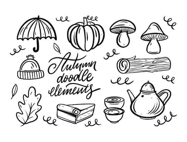 Insieme di elementi di doodle autunnale di colore nero disegnato a mano line art style