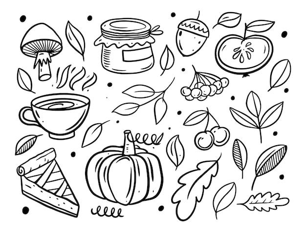 Insieme di elementi di doodle autunnale di colore nero disegnato a mano illustrazione vettoriale di linea arte