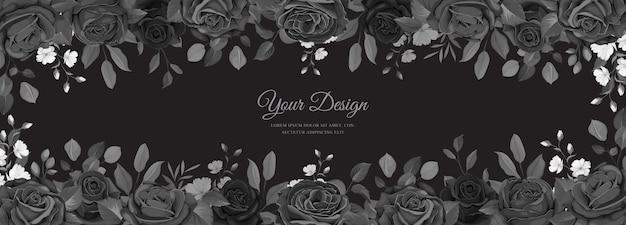 Biglietto d'invito con rose nere disegnate a mano