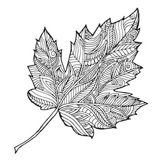 Foglia d'autunno in bianco e nero disegnata a mano