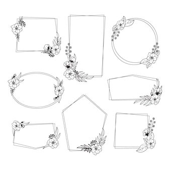 Collezione di cornici floreali in bianco e nero disegnate a mano