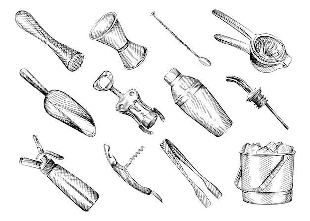 Insieme di schizzo disegnato a mano in bianco e nero di inventario bar.