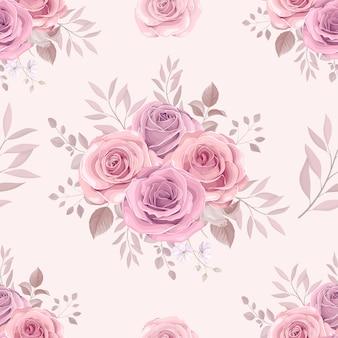 Disegnata a mano in fiore rosa fiore seamless pattern design