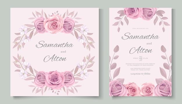 Disegno di carta di nozze fiore rosa in fiore disegnato a mano
