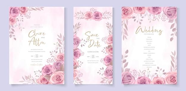 Disegno del modello dell'invito di nozze del fiore della rosa di fioritura disegnata a mano