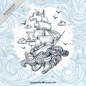 Disegnata a mano in barca con le onde di sfondo Vettore Premium