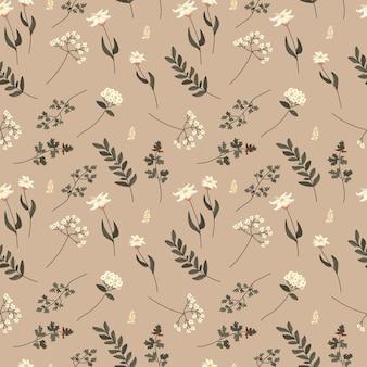 Reticolo senza giunte di doodle botanico minimalista femminile boho colorato disegnato a mano