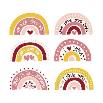 Insieme dell'illustrazione dell'arcobaleno della scuola materna di boho disegnato a mano. biglietto di auguri di san valentino.