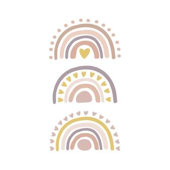 Insieme dell'illustrazione dell'arcobaleno della scuola materna di boho disegnato a mano.