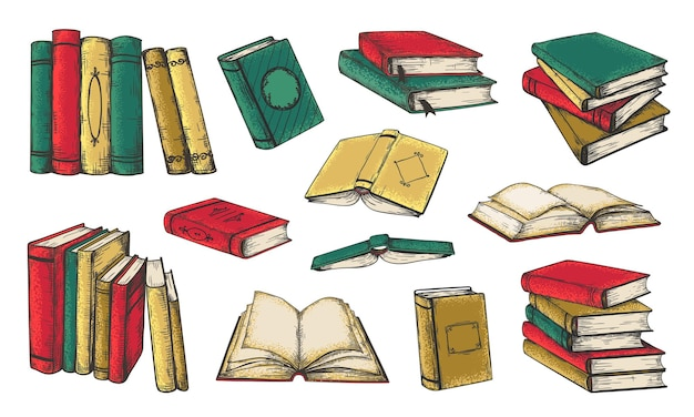 Illustrazione di libri disegnati a mano