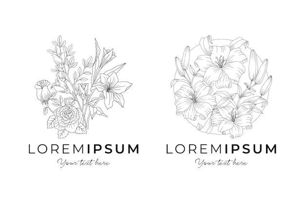 Insieme di logo di fiori botanici disegnati a mano