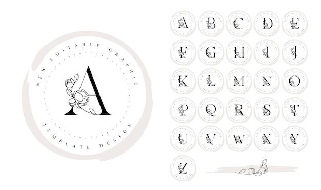 Set di design del logo botanico disegnato a mano con lettere dell'alfabeto ed elementi di fiori di peonia