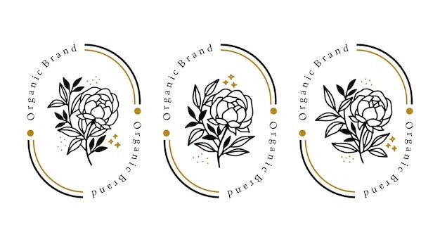 Elemento floreale di peonia botanica disegnato a mano per il logo di bellezza femminile
