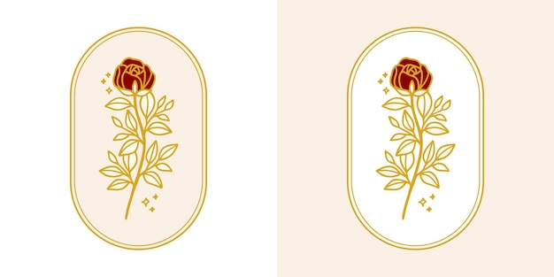Insieme di elementi logo botanico rosa fiore e foglia ramo disegnato a mano