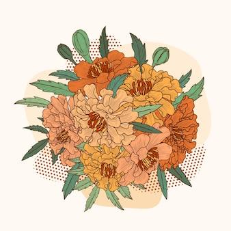 Schizzo botanico disegnato a mano del bouquet di calendula in stile vintage