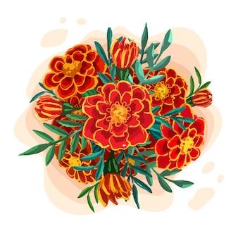 Abbozzo botanico disegnato a mano del bouquet di calendula