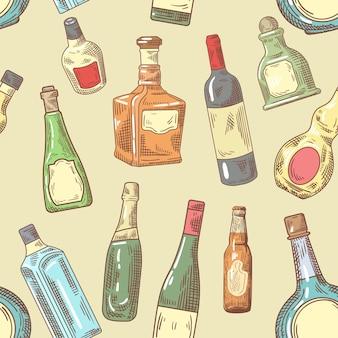 Collezione di bottiglie disegnate a mano