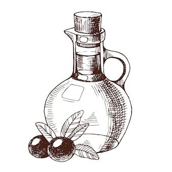 Bottiglia disegnata a mano di olio d'oliva e olive nere