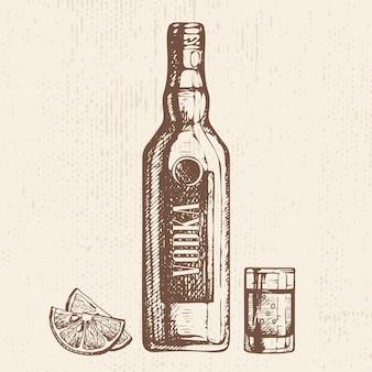 Bottiglia disegnata a mano di bicchierino di vodka e fette di limone schizzo stile illustrazione