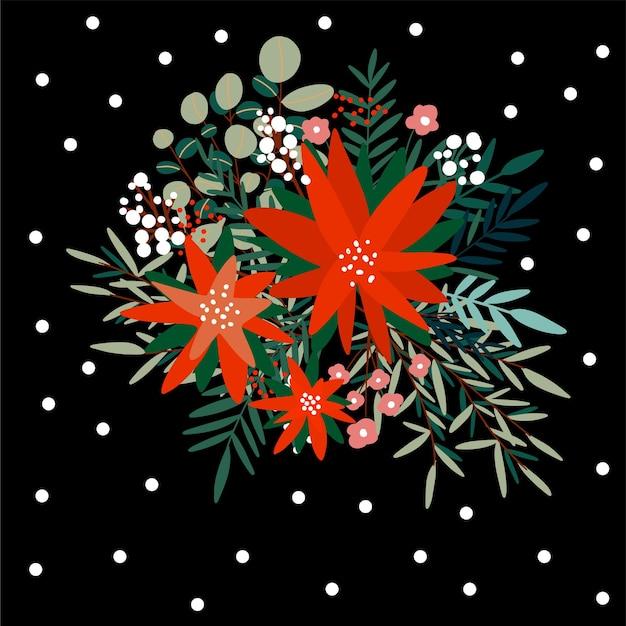 Mazzo disegnato a mano di fiori e rami floreali e bacche, vischio ed eucalipto. floreali natalizi