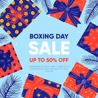 Regali di vendita di evento di boxe day disegnati a mano