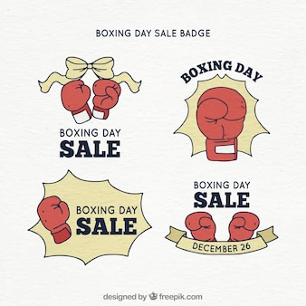Distintivo di vendita di giorno di santo stefano disegnato a mano con i guantoni da boxe