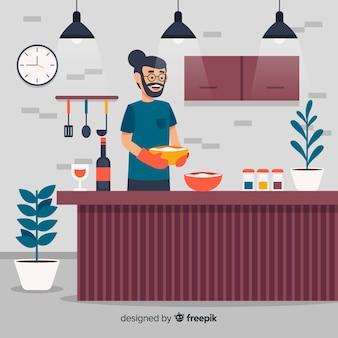 Ragazzo disegnato a mano che cucina sfondo Vettore Premium