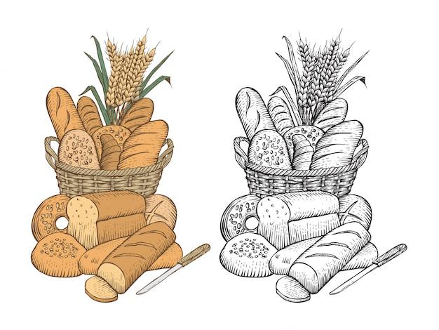 Disegnato a mano di assortimento di pane in un cesto su sfondo bianco