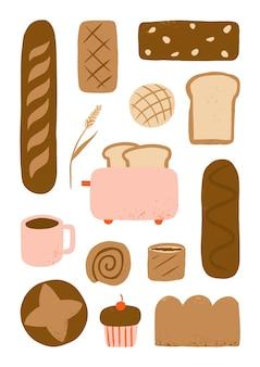 Pane e caffè disegnati a mano per la raccolta di elementi di cibo da forno