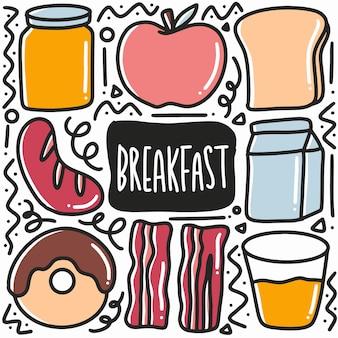 Doodle di piatto colazione disegnato a mano con icone ed elementi di design