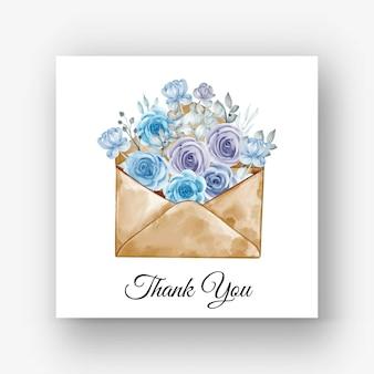 Sposa disegnata a mano con l'illustrazione blu dell'acquerello del fiore del mazzo