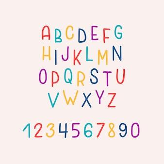 Alfabeto colorato luminoso disegnato a mano isolato su sfondo pastello