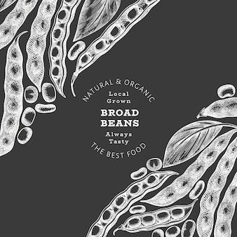 Modello di disegno di fave disegnato a mano. illustrazione vettoriale di alimenti freschi biologici sulla lavagna. illustrazione di baccelli retrò. sfondo di cereali in stile botanico.