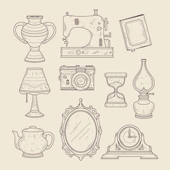 Insieme di elementi di brocante disegnati a mano