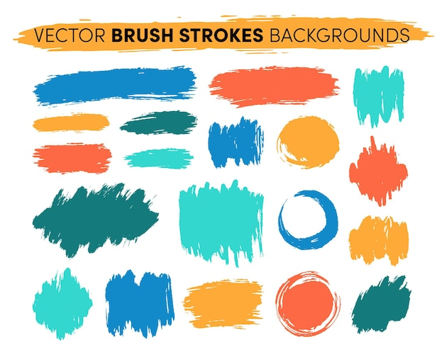 Set di pennellate disegnate a mano. punti salienti delle macchie di vernice artistica di lerciume.