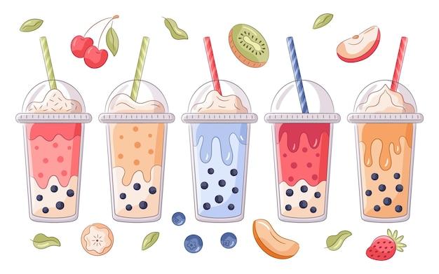 Set di aromi di tè a bolle disegnati a mano