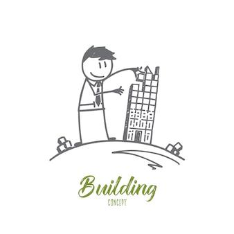 Schizzo di concetto di edificio disegnato a mano