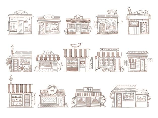 Edifici disegnati a mano. illustrazioni del mercato del bar e del ristorante della farmacia.