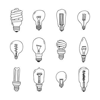 Collezione di lampadine disegnate a mano.